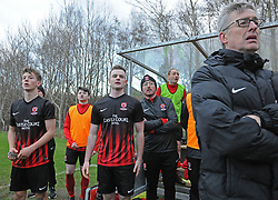 Westport United bench looking on apprehensively during the closing moments of the FAI Junior Cup game against Usher Celtic.<br />