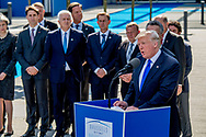 BRUSSELS - U.S. President Donald Trump delivers remarks at the start of the NATO summit at their new headquarters in Brussels, Belgium, May 25, 2017. ROBIN UTRECHT<br /> president trump van de verenigde staten van america . mark rutte <br /> BRUSSEL - Amerikaanse president Donald Trump levert aan het begin van de NAVO-top op zijn nieuwe hoofdkantoor te Brussel, 25 mei 2017, opmerkingen. ROBIN UTRECHT<br /> President tromp van de Verenigde Staten van Amerika. Mark rutte