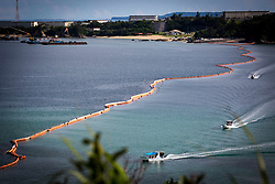 July 13, 2017 - Nago, Okinawa Prefecture, Japan - A view of the new U.S Marine Airbase construction site is seen on July 13, 2017 in Oura bay, Henoko, Nago, Okinawa prefecture, Japan. Over the next five years, a new facility will be built in the waters off the coast from Camp Schwab as part of the relocation of the Futenma Air Station to the Henoko area on the island of Okinawa. (Photo by Richard Atrero de Guzman/NURPhoto) (Credit Image: © Richard Atrero De Guzman/NurPhoto via ZUMA Press)