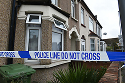 © Licensed to London News Pictures. 22/11/2019. London UK: Police seal off a property in Durham road, Dagenham, east London and launch a murder investigation after the body of a 60 year old female was found inside. Detectives have arrested a 37 year old male in connection with the murder , Photo credit: Steve Poston/LNP