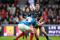 Yannick Jauzion attacks for Toulouse as Jeremy Sinzelle attempts to tackle him. Stade Toulousain v Toulon, 11eme Journee, Top 14, Stade Ernest Wallon, Toulouse, France, 30th October 2010.