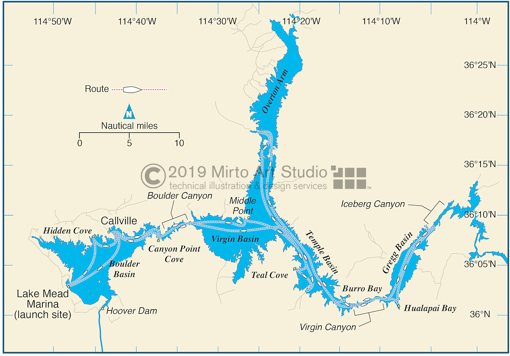 Vector map of Lake Mead