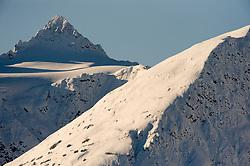 Unidentified mountain peak outside Haines, Alaska, seen from the Alaska Chilkat Bald Eagle Preserve.