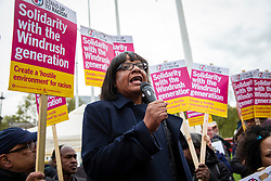 © Licensed to London News Pictures. 30/04/2018. London, UK. Shadow Home Secretary DIANE ABBOTT speaks to protesters in Parliament Square about the ongoing Windrush migrant scandal. Photo credit: Rob Pinney/LNP