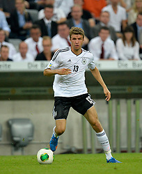 06.09.2013, Allianz Arena, Muenchen, GER, FIFA WM Qualifikation, Deutschland vs Oesterreich, Rueckspiel, im Bild Thomas Mueller (GER) am Ball Freisteller, Einzelbild, Aktion, , , Qualifikation Weltmeisterschaft Brasilien 2014 Rueckspiel , Saison 2013 2014 Muenchen Allianz-Arena, 06.09.2013 // during the FIFA World Cup Qualifier second leg Match between Germany and Austria at the Allianz Arena, Munich, Germany on 2013/09/06. EXPA Pictures © 2013, PhotoCredit: EXPA/ Eibner/ Michael Weber<br /> <br /> ***** ATTENTION - OUT OF GER *****