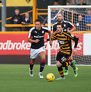 Dundee&rsquo;s Danny Williams races away from Alloa Athletic&rsquo;s Iain Flannigan  - Alloa Athletic v Dundee, pre-season friendly at Recreation Park, Alloa<br /> <br />  - &copy; David Young - www.davidyoungphoto.co.uk - email: davidyoungphoto@gmail.com