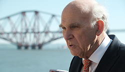 In front of the iconic Forth Rail Bridge, Liberal Democrat leader Vince Cable, former Change UK lead candidate David MacDonald, Lib Dem European election candidates and party activists unveiled a new election poster calling on Remain voters to unite to stop Brexit.<br /> <br /> Pictured: Sir Vince Cable MP<br /> <br /> Alex Todd   Edinburgh Elite media
