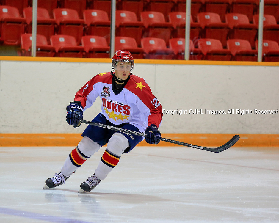 PICKERING, ON - Sep 14 : Ontario Junior Hockey League Game Action between the Pickering Panthers and the Wellington Dukes, Jacob Panetta #12 of the Wellington Dukes Hockey Club during first period game action<br /> (Photo by Keith White / OJHL Images)