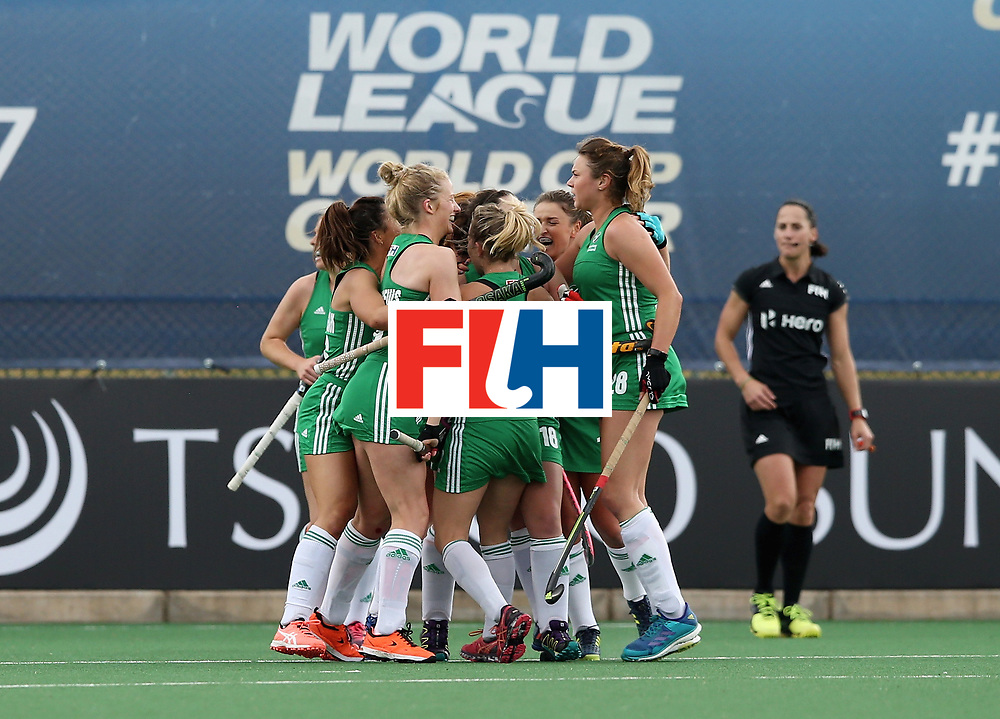 JOHANNESBURG, SOUTH AFRICA - JULY 08:  Ireland players celebrate their teams first goal during the pool A match between Japan and Ireland on day one of the FIH Hockey World League Semi-Final at Wits University on July 8, 2017 in Johannesburg, South Africa.  (Photo by Jan Kruger/Getty Images for FIH)