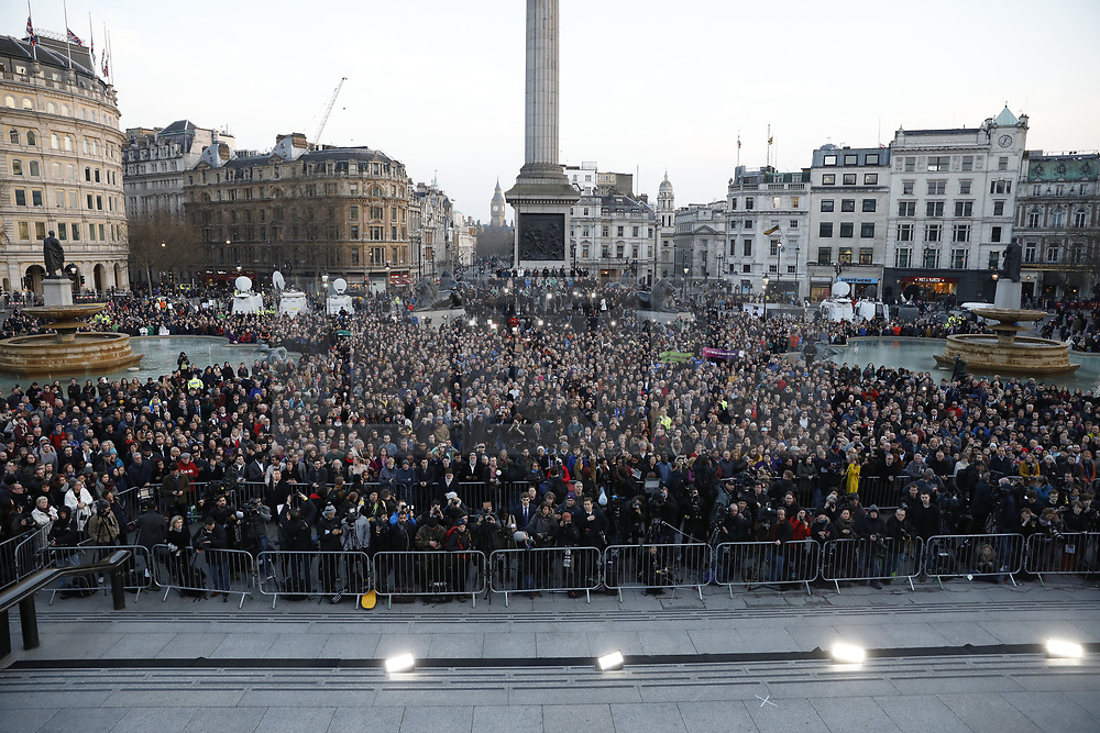 © Licensed to London News Pictures.23/03/2017.London, UK.  People gather in Trafalgar Square for a candlelit vigil to remember the victims of Wednesday's terror attack.  A lone terrorist killed 4 people and injured several more, in an attack using a car and a knife. The attacker managed to gain entry to the grounds of the Houses of Parliament, killing one police officer.Photo credit: Peter Macdiarmid/LNP