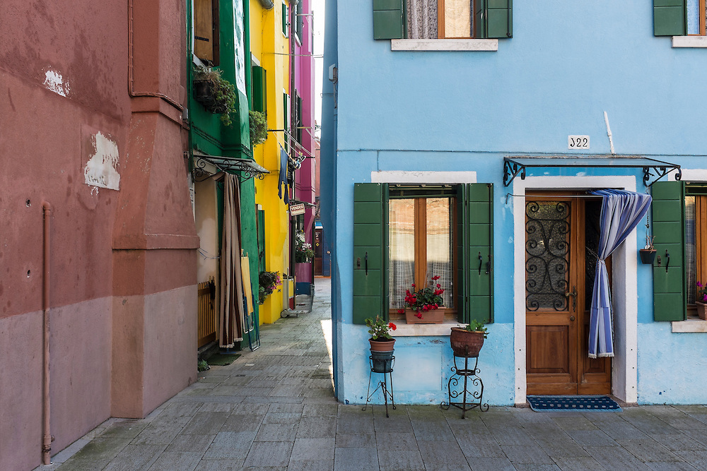 A street on Burano Island in the Venetian Lagoon.