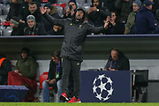 An animated Liverpool manager Jurgen Klopp during the Champions League match between Bayern Munich and Liverpool at the Allianz Arena, Munich, Germany, on 13 March 2019.