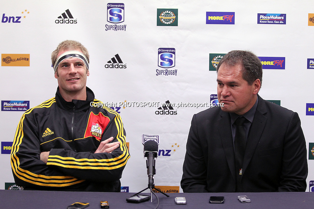 Chiefs' Head Coach Dave Rennie and Captain Craig Clarke front the media after the game. Super Rugby rugby union match, Chiefs v Bulls at Waikato Stadium, Hamilton, New Zealand. Friday 25th May 2012. Photo: Anthony Au-Yeung / photosport.co.nz