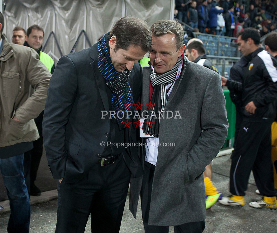 14.12.2011, UPC Arena, Graz, AUT, UEFA Europa League , Sturm Graz vs AEK Athen FC, im Bild Franco Foda (SK Puntigamer Sturm Graz, Headcoach) mit Praesident Stockenhuber // during UEFA Europa League football game between Sturm Graz and AEK Athens FC at UPC Arena in Graz, Austria on 14/12/2011. EXPA Pictures © 2011, PhotoCredit: EXPA/ E. Scheriau
