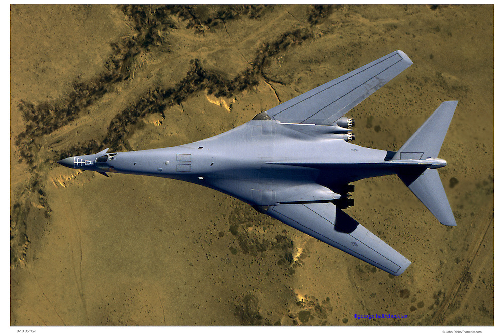 B-1 bomber, top view, aerial