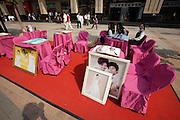 Wangfujing Dajie shopping street and pedestrian zone. Open air promotion for a wedding enterprise.