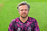 Head shot of James Hildreth in the Vitality Blast kit during the 2019 media day at Somerset County Cricket Club at the Cooper Associates County Ground, Taunton, United Kingdom on 2 April 2019.