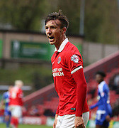 Charlton Athletic defender Morgan Fox berating the official during the Sky Bet Championship match between Charlton Athletic and Ipswich Town at The Valley, London, England on 28 November 2015. Photo by Matthew Redman.