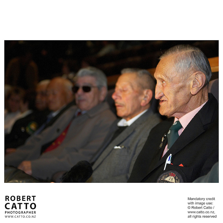 Members of the 28th Maori Battalion at the Premiere of short film Tama Tu at the Embassy Theatre, Wellington, New Zealand.<br />