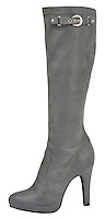 mia gray leather knee high boots with buckle