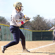 Goldey-Beacom infielder Ashley Zaccaria (18) makes contact with the ball in the fifth inning of a NCAA Central Atlantic Collegiate Conference game against Post University Saturday, March 30, 2013, at Nancy Churchmann Sawin Athletic Field in Wilmington Delaware.