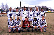 10.05.1987, Pori, Finland..SM-sarja / Finnish League, Porin Pallo-Toverit v HJK Helsinki..PPT, back row, left to right: Petri Nieminen, Ari Suonpää, Pasi Sulonen, Vesa Rantanen, Kari Ketola, Seppo Sulonen..Front row, l to r: Risto Koskikangas, Jarmo Alatensiö, Seppo Lehtikangas, Jorma Heinonen, Rami Nieminen..©Juha Tamminen