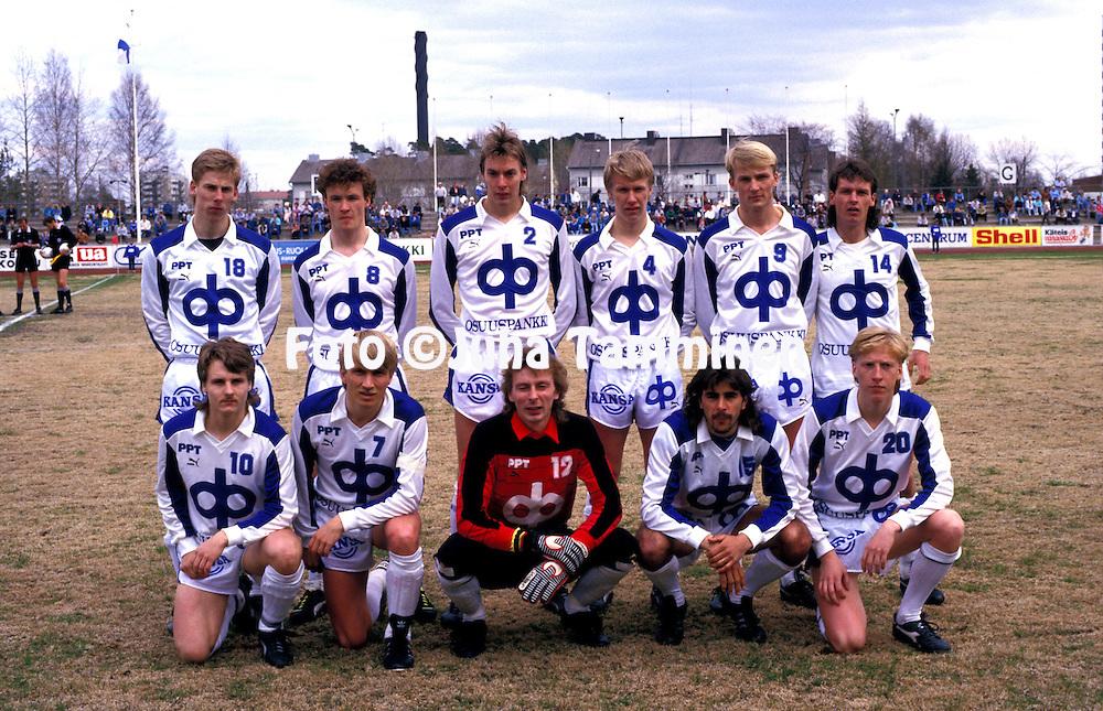 10.05.1987, Pori, Finland..SM-sarja / Finnish League, Porin Pallo-Toverit v HJK Helsinki..PPT, back row, left to right: Petri Nieminen, Ari Suonpää, Pasi Sulonen, Vesa Rantanen, Kari Ketola, Seppo Sulonen..Front row, l to r: Risto Koskikangas, Jarmo Alatensiö, Seppo Lehtikangas, Jorma Heinonen, Rami Nieminen..©Juha Tamminen