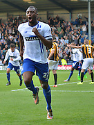 Nathan Cameron cant contain his excitement at scoring against vale during the Sky Bet League 1 match between Bury and Port Vale at Gigg Lane, Bury, England on 19 September 2015. Photo by Mark Pollitt.