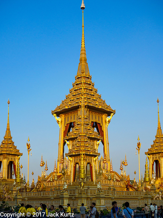 13 DECEMBER 2017 - BANGKOK, THAILAND:  Southwest corner of the Royal Crematorium on Sanam Luang in Bangkok. The crematorium was used for the funeral of Bhumibol Adulyadej, the Late King of Thailand. He was cremated on 26 October 2017. The crematorium is open to visitors until 31 December 2017. It will be torn down early in 2018. More than 3 million people have visited the crematorium since it opened to the public after the cremation of the King.    PHOTO BY JACK KURTZ