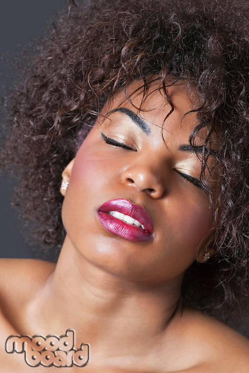 Extreme close-up of sensuous young African American woman