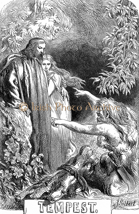 Prospero, holding his daughter Miranda, regards Caliban, a savage, deformed, sub-human creature, whom he has enslaved. Illustration by John Gilbert (1817-1897) for 'The Tempest' for edition of Shakespeare's Works published 1856-1858. Play first performed  c1611. Engraving.