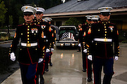 The Marine Honor Guard honors the casket of Lt. Madrazo...Service (Funeral) for Lt. Nicolas Madrazo of Bothell, Washington. Killed in Action September 9, 2008 in Afghanistan...Westminster Chapel, Bellevue, Washington.