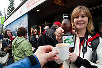 Rivella, a Swiss softdrink, and espresso are served at the House of Switzerland during the 2010 Olympic Winter Games in Whistler, BC Canada.