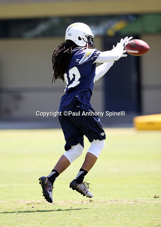 San Diego Chargers cornerback Jason Verrett (22) leaps and catches a pass during the Chargers 2016 NFL minicamp football practice held on Tuesday, June 15, 2016 in San Diego. (©Paul Anthony Spinelli)