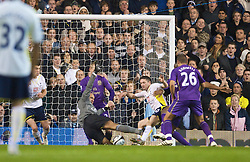 LONDON, ENGLAND - Tuesday, October 27, 2009: Everton's goalkeeper Tim Howard saves from Tottenham Hotspur's Robbie Keane after saving his penalty, but eventually Spurs put the ball in the back of the net to score the second goal, during the League Cup 4th Round match at White Hart Lane. (Photo by David Rawcliffe/Propaganda)