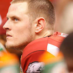 January 4, 2011; New Orleans, LA, USA;  Arkansas Razorbacks quarterback Ryan Mallett (15) on the bench during the third quarter of the 2011 Sugar Bowl against the Ohio State Buckeyes at the Louisiana Superdome.  Mandatory Credit: Derick E. Hingle
