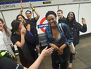 Sadia Khan at London's Night Tube launch at Brixton tube station, London, Great Britain <br /> 19th August 2016 <br /> <br /> Some revellers at Oxford Circus spotted the mayor on the train <br /> <br /> <br /> Sadia Khan, mayor of London,  launched the first night tube service and travelled on a tube train between Brixton and Walthamstow on the Victoria Line. <br />  <br /> He launched the first 24 hour Friday and Saturday night services on the Central and Victoria lines <br /> <br /> Photograph by Elliott Franks <br /> Image licensed to Elliott Franks Photography Services