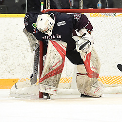 DRYDEN, ON - MAY 1: Landon Pavlisin #35 of the Dryden GM Ice Dogs protects the crease in the first period during Game Two of the Central Canadian Junior Championship during the 2018 Dudley Hewitt Cup on May 1, 2018 at the Dryden Memorial Arena in Dryden, Ontario, Canada. (Photo by Andy Corneau/DHC via OJHL Images)