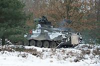 23 FEB 2013, LETZLINGEN/GERMANY:<br /> Schuetzenpanzer, SPz, Marder 1A3, des Panzergrenadierbattailons 212 der Bundeswehr mit Wintertarnung waehrend einer Gefechtsuebung im Winter, Gefechtsuebungszentrum Heer, Truppenuebungsplatz Altmark<br /> IMAGE: 20130223-01-027<br /> KEYWORDS: Gefechtsübung, Schnee, Schützenpanzer, Gefechtsübungszentrum, Heer, Armee, Streikräfte, Militaer, Miltär, Streitkraefte, Panzer, Streitkräfte