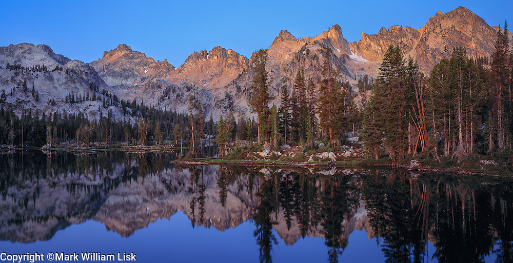 Moonrise over Alice Lake in the Sawtooth Wilderness.