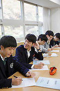 The students Lee Ho jae Lee, Ji sung Oh, Hyung joon Lee and Sang hyuk Han at the Shinil High School, Seoul, South Korea.