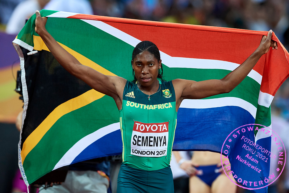 Great Britain, London - 2017 August 13: Caster Semenya from South Africa poses with national flag after her victory in women's 800 meters final during IAAF World Championships London 2017 Day 10 at London Stadium on August 13, 2017 in London, Great Britain.<br /> <br /> Mandatory credit:<br /> Photo by © Adam Nurkiewicz<br /> <br /> Adam Nurkiewicz declares that he has no rights to the image of people at the photographs of his authorship.<br /> <br /> Picture also available in RAW (NEF) or TIFF format on special request.<br /> <br /> Any editorial, commercial or promotional use requires written permission from the author of image.