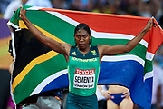 Great Britain, London - 2017 August 13: Caster Semenya from South Africa poses with national flag after her victory in women&rsquo;s 800 meters final during IAAF World Championships London 2017 Day 10 at London Stadium on August 13, 2017 in London, Great Britain.<br /> <br /> Mandatory credit:<br /> Photo by &copy; Adam Nurkiewicz<br /> <br /> Adam Nurkiewicz declares that he has no rights to the image of people at the photographs of his authorship.<br /> <br /> Picture also available in RAW (NEF) or TIFF format on special request.<br /> <br /> Any editorial, commercial or promotional use requires written permission from the author of image.