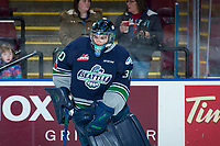 KELOWNA, CANADA - FEBRUARY 23: Liam Hughes #30 of the Seattle Thunderbirds warms up against the Kelowna Rockets on February 23, 2018 at Prospera Place in Kelowna, British Columbia, Canada.  (Photo by Marissa Baecker/Shoot the Breeze)  *** Local Caption ***