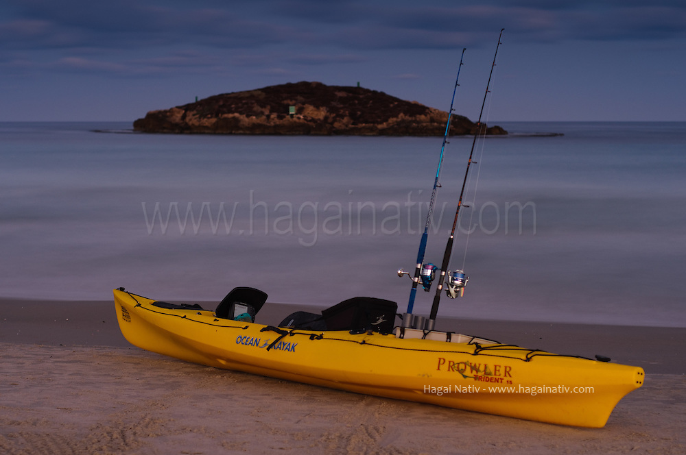 A fisherman kayak, ready to depart from Maagan michael beach, in early mornning time