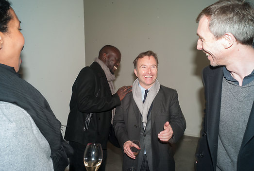 DAVID ADJAYE; TONY CHAMBERS, Editor of Wallpaper: Tony Chambers and architect Annabelle Selldorf host drinks to celebrate the collaboration between the architect and three of Savile Row's finest: Hardy Amies, Spencer hart and Richard James. Hauser and Wirth Gallery. ( Current show Isa Genzken. ) savile Row. London. 9 January 2012.