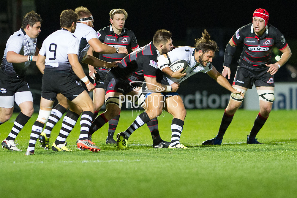 Cornell du Preez tackles Giovanbattista Venditti during the Guinness Pro 14 2017_18 match between Edinburgh Rugby and Zebre at Myreside Stadium, Edinburgh, Scotland on 6 October 2017. Photo by Kevin Murray.