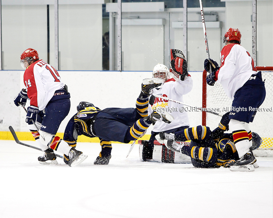 OAKVILLE, ON - Sep 28, 2014 :  Ontario Junior Hockey League game action between Wellington and Buffalo at the Governor's Showcase Tournament. The drive to the net during the first period.<br /> (Photo by Tim Bates / OJHL Images)
