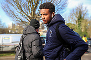 AFC Wimbledon goalkeeper Nathan Trott (1) arriving for the game during the EFL Sky Bet League 1 match between AFC Wimbledon and Fleetwood Town at the Cherry Red Records Stadium, Kingston, England on 8 February 2020.