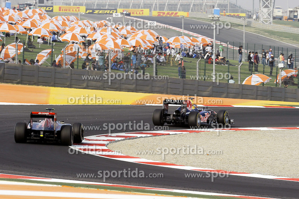 28.10.2011, Jaypee-Circuit, Noida, IND, F1, Grosser Preis von Indien, Noida, im Bild DHL Branding - Sebastian Vettel (GER), Red Bull Racing // during the Formula One Championships 2011 Large price of India held at the Jaypee-Circui 2011-10-28  EXPA Pictures © 2011, PhotoCredit: EXPA/ nph/  Dieter Mathis        ****** only for AUT, SLO,POL ******